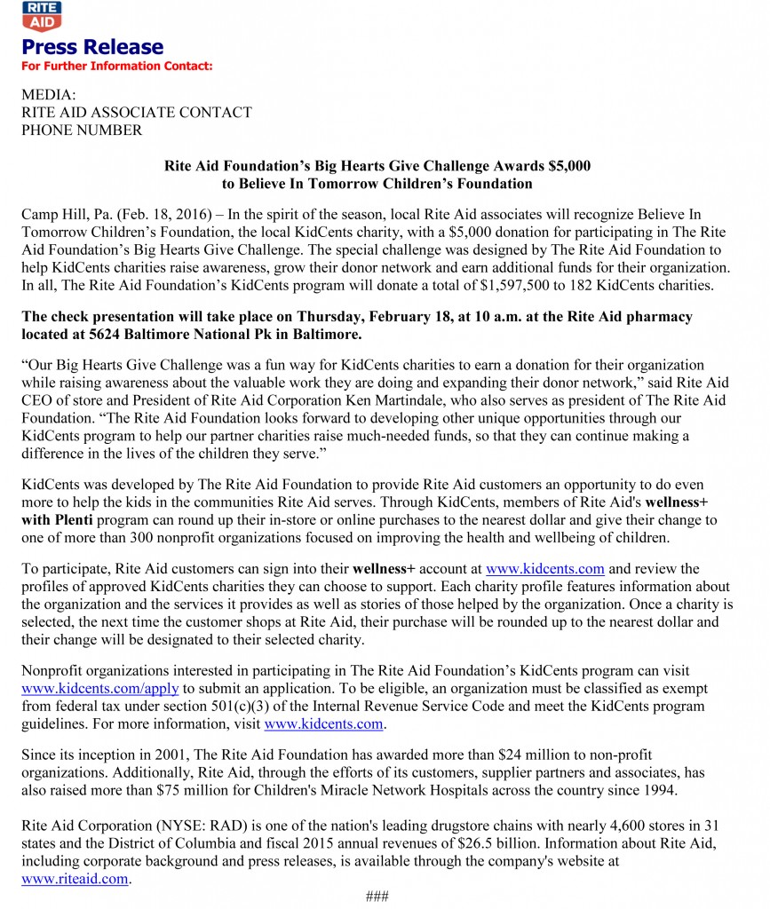 Rite Aid Press Release